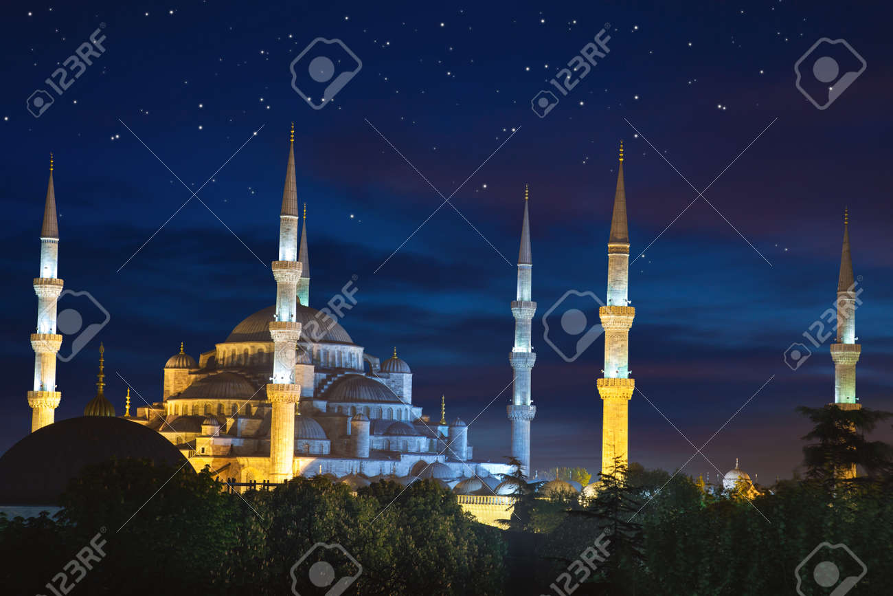 Blue Sultanahmet Mosque at night time with fantastic sky and stars, Istanbul, Turkey - 47374790