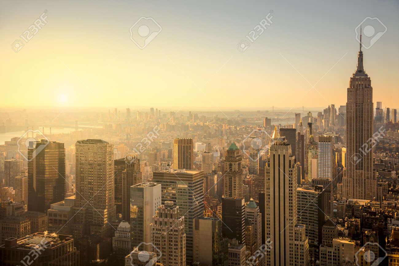 New York City Skyline With Urban Skyscrapers At Gentle Sunrise ...