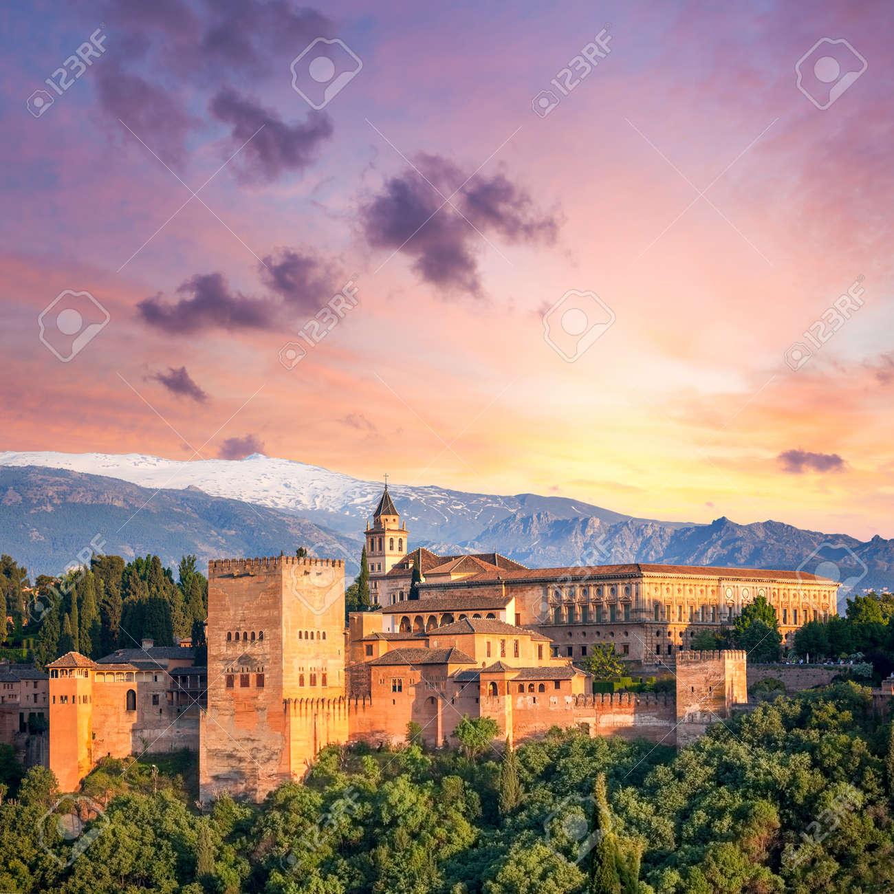 Fantastic Ancient Alhambra at thel evening time, Granada, Spain, European travel landmark - 51925924