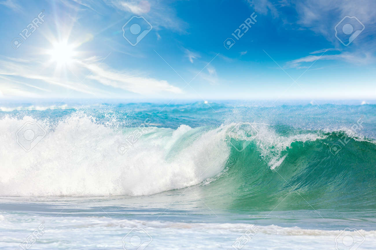 Summer vacation on the Sea - seascape with beautiful wave and blue sky with sun - 58149574