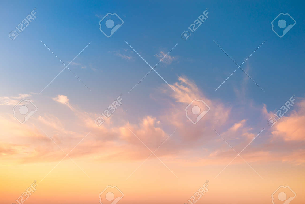 Gentle Colors of Sky Background at Sunrise time with light clouds, natural colors, may use for wallpaper - 131155594