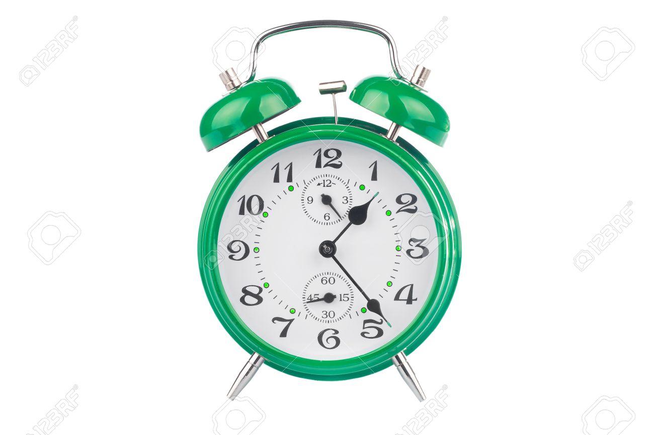 Green alarm clock isolated on white background Stock Photo - 9279108