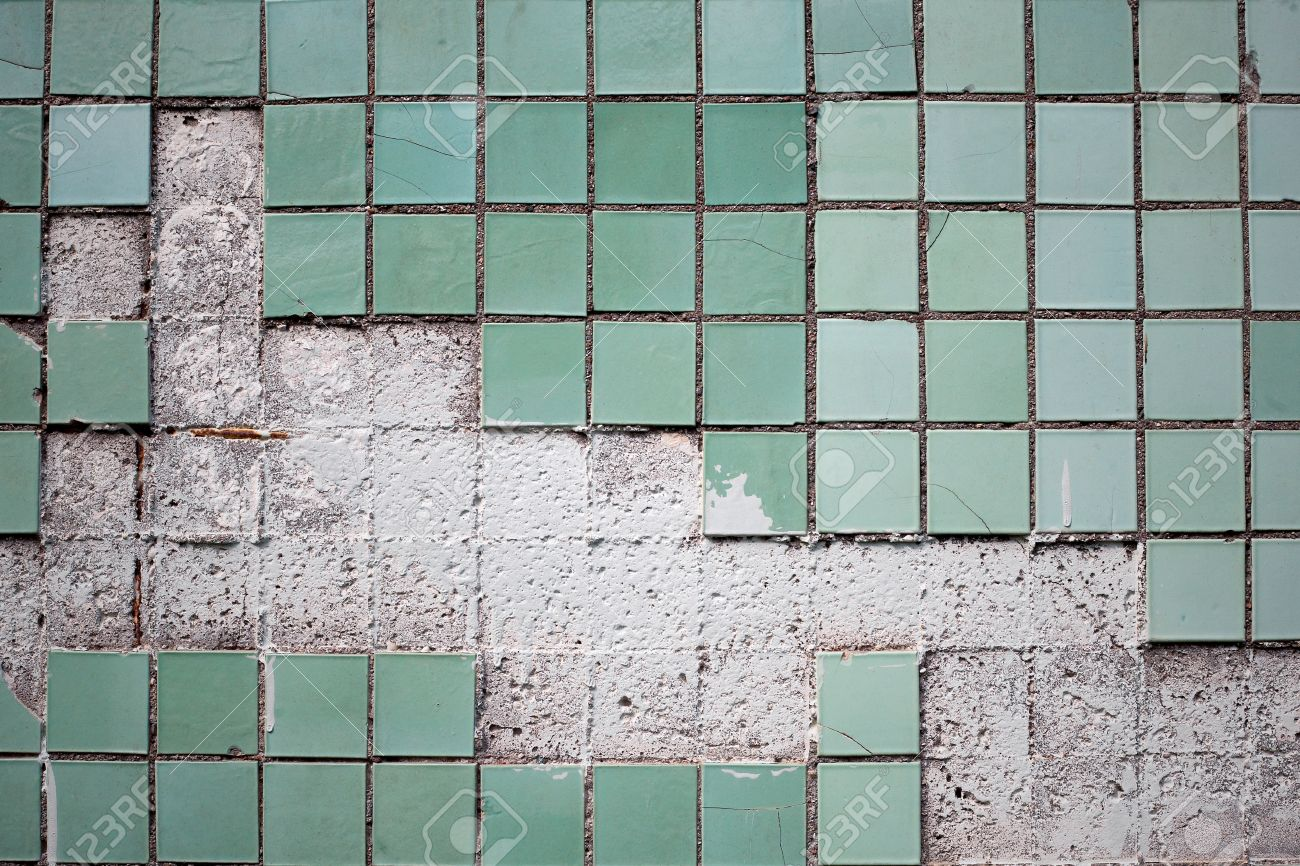 Texture Of The Old Tile Wall With Cracks Stock Photo, Picture And ...