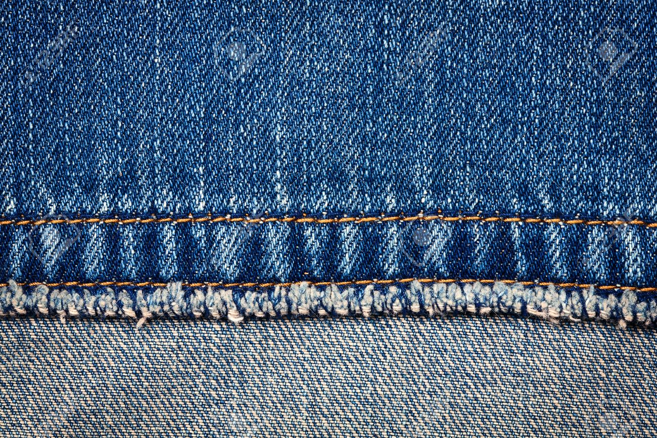 Worn blue denim jeans texture with stitch and reverse side Stock Photo - 11855968