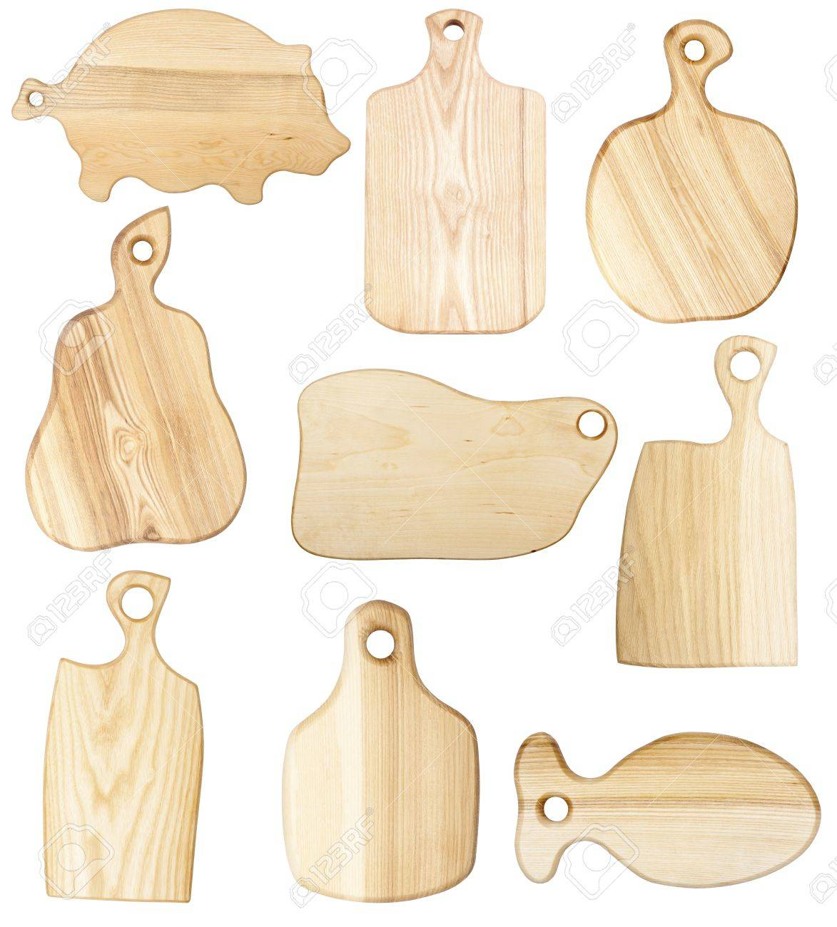 Set of chopping boards isolated on white Stock Photo - 12842648