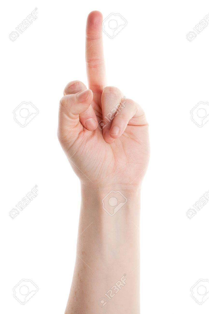 Daarentegen Blijkt Een Middelvinger Op Wit Wordt Geãsoleerd