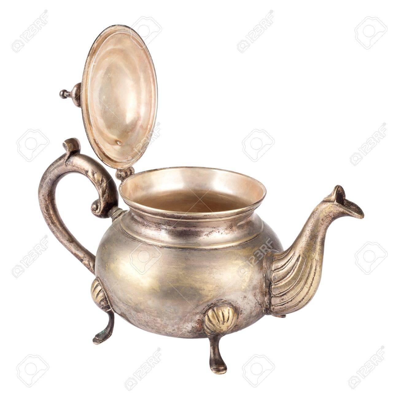 Antique teapot on white background Stock Photo - 14310897