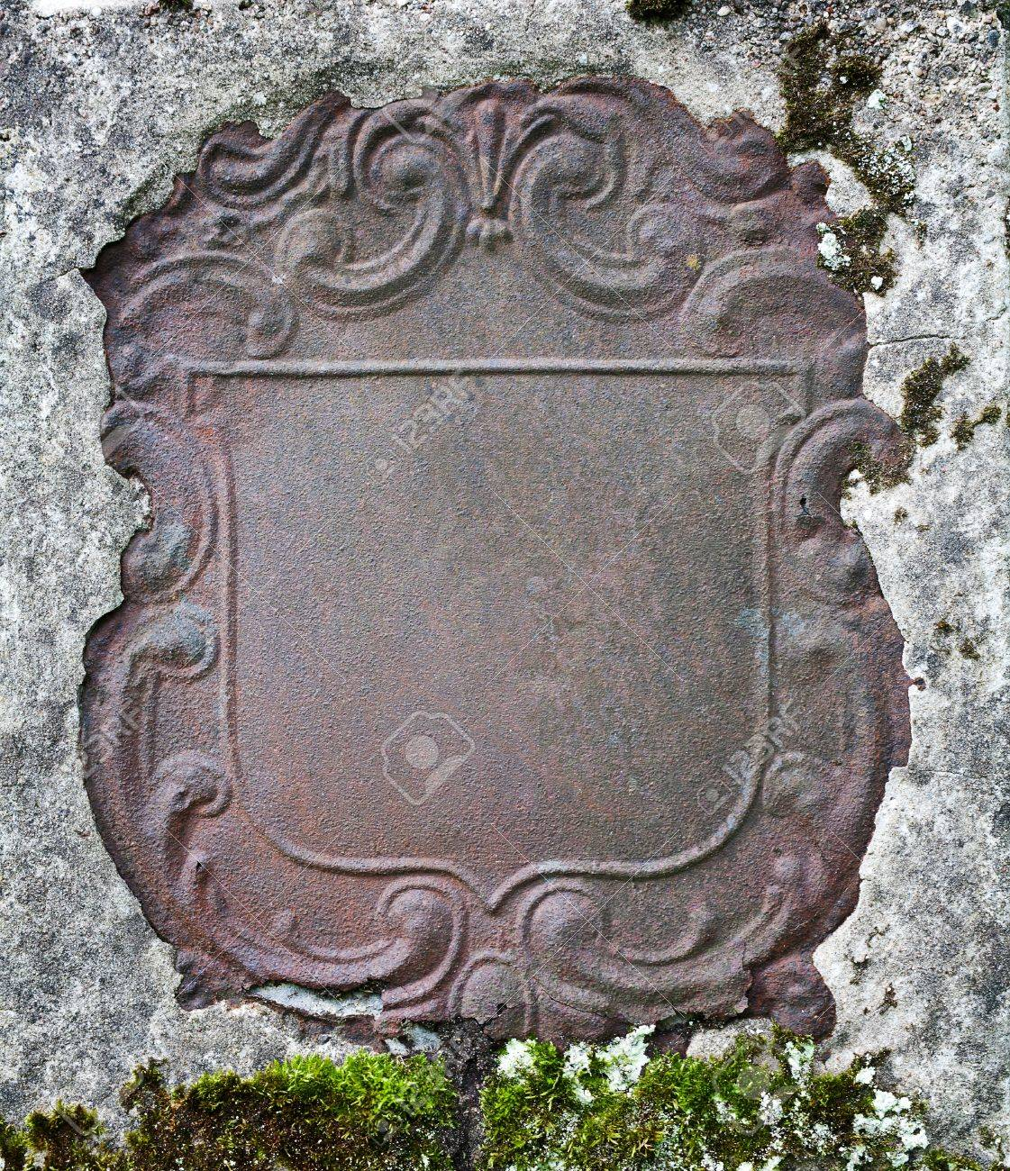 Rusty decorative metal plate in a wall Stock Photo - 14920150 & Rusty Decorative Metal Plate In A Wall Stock Photo Picture And ...