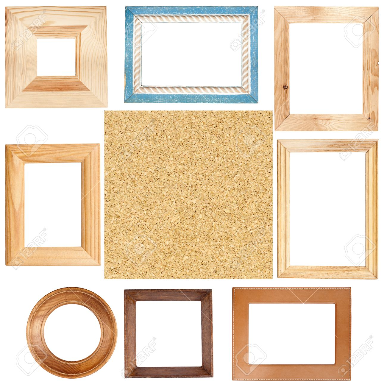 big size set of picture frames and cork board texture stock photo 15843541