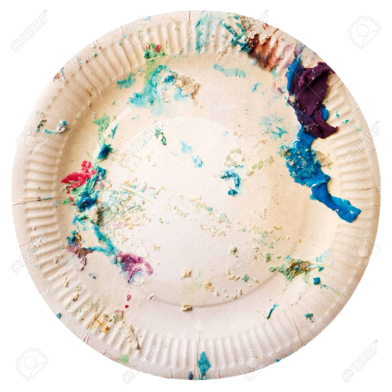 Disposable paper plate with cake crumbs isolated on white background. End of birthday party concept  sc 1 st  123RF.com & Disposable Paper Plate With Cake Crumbs Isolated On White Background ...