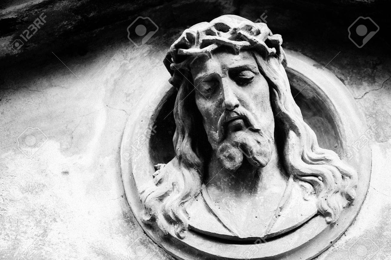 Face Of Jesus Christ On Old Tombstone Black And White Image