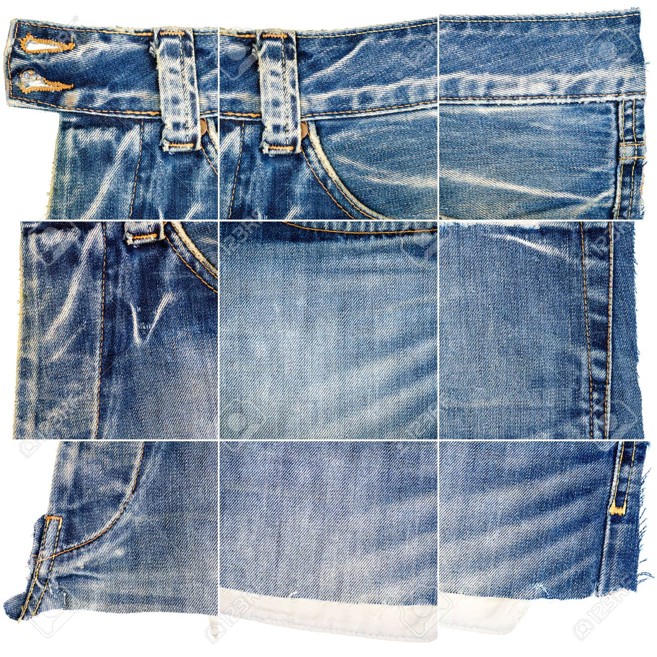 Collection of blue jeans fabric textures isolated on white background. Rough uneven edges. Composite image of jeans with pocket - 120789257