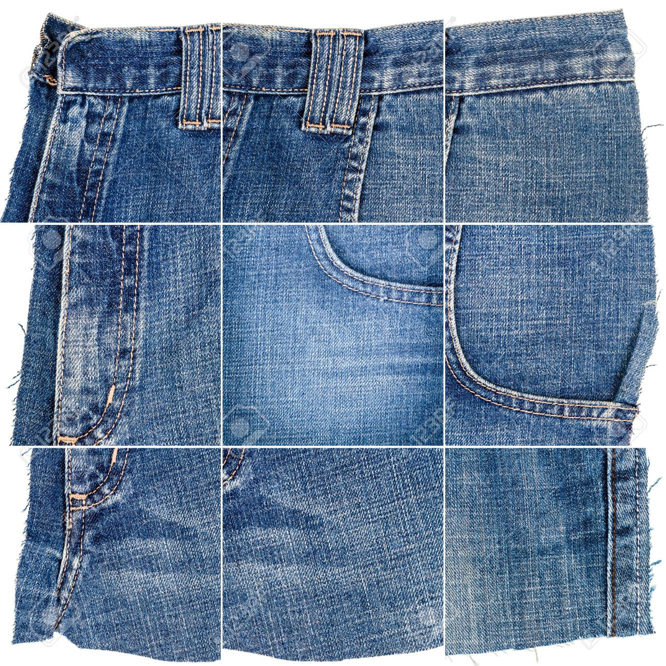 Collection of blue jeans fabric textures isolated on white background. Rough uneven edges. Composite image of denim material with pocket. - 121095727