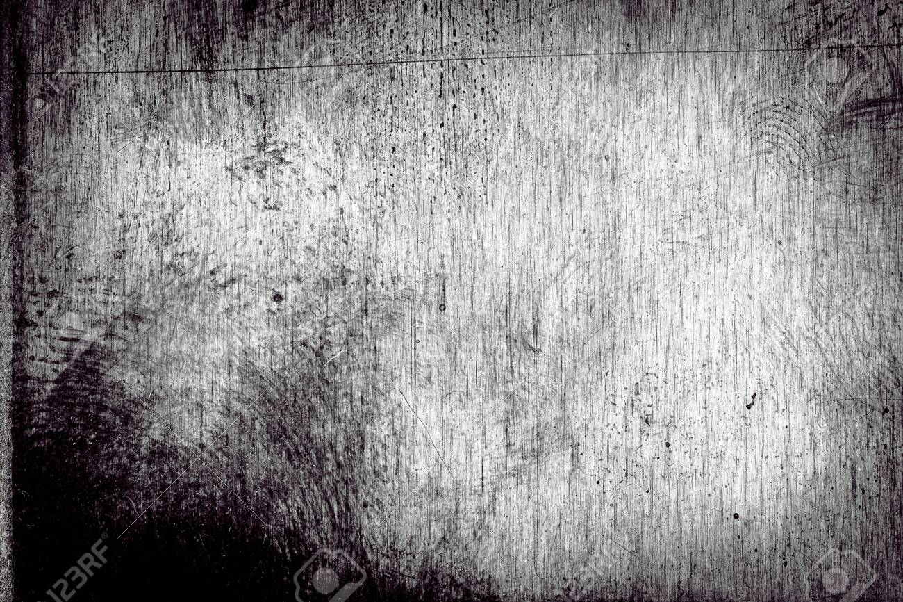 Scratched dirty dusty copper plate texture, old metal background. Cloudy and scratchy brass. Black and white image. - 124328966