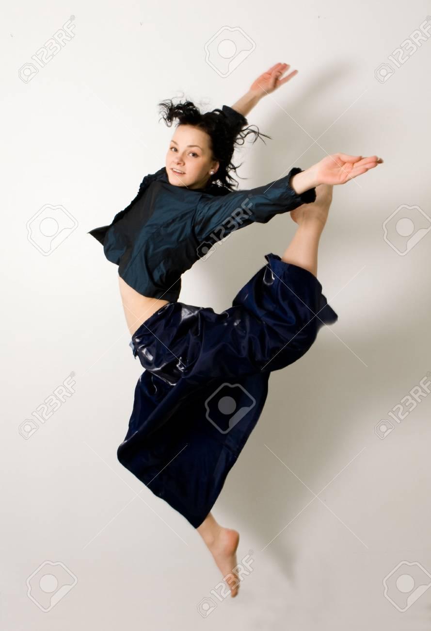 jumping smiling girl. isolated on white background Stock Photo - 4822733