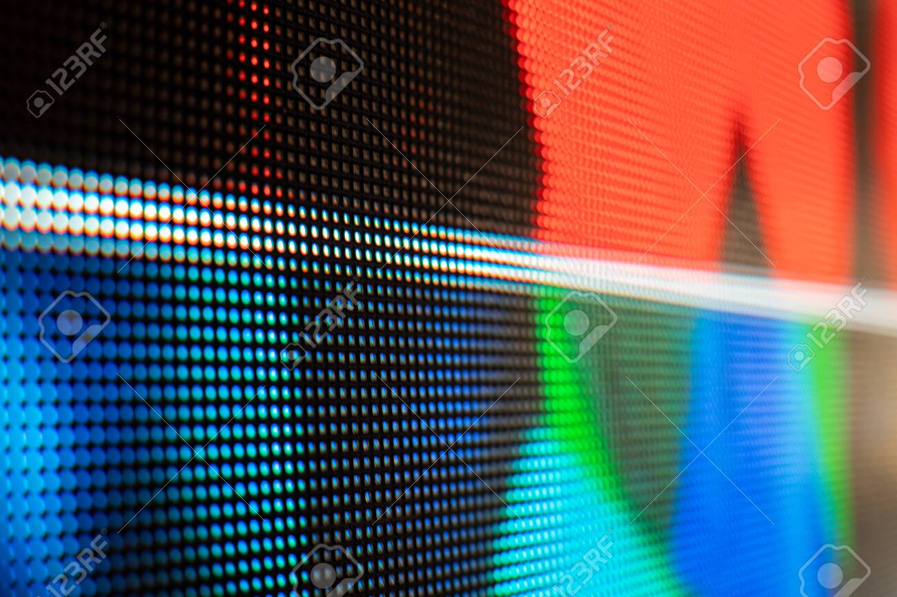 Bright colored LED video wall with high saturated pattern - close up background with shallow depth of field - 131606973