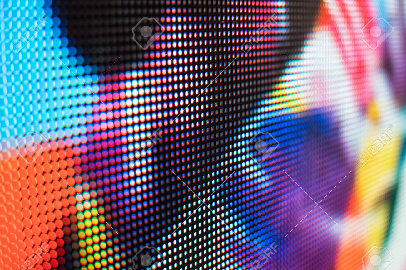 Bright colored LED video wall with high saturated pattern - close up background with shallow depth of field - 131607188