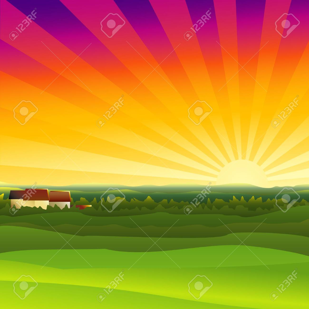 A small farm in the evening Stock Photo - 2348399