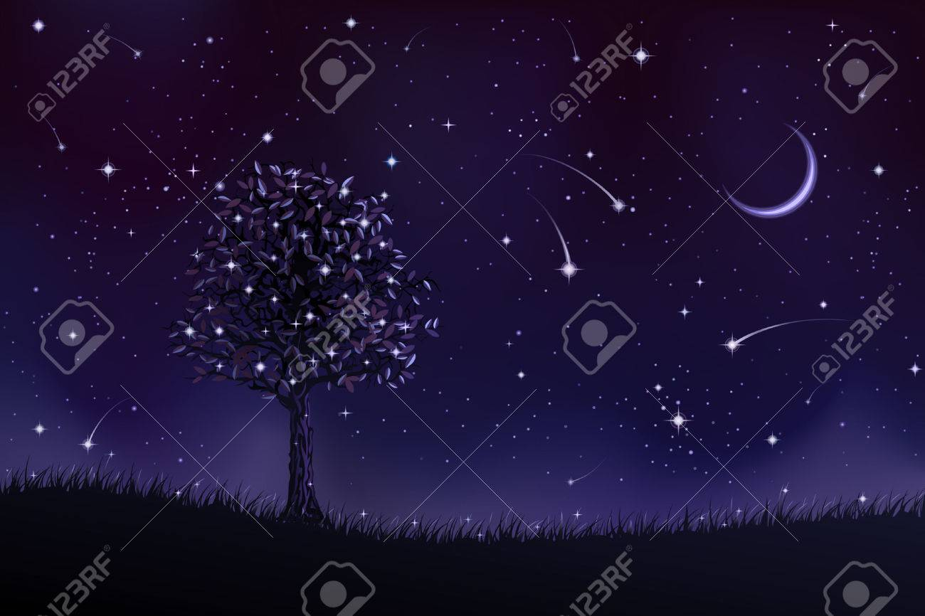 Lone tree at night (other landscapes are in my gallery) Stock Vector - 4192357