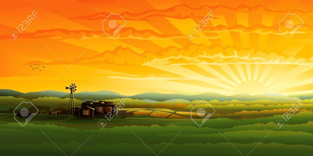 Countryside panorama in the evening (other landscapes are in my gallery) Stock Vector - 4192346