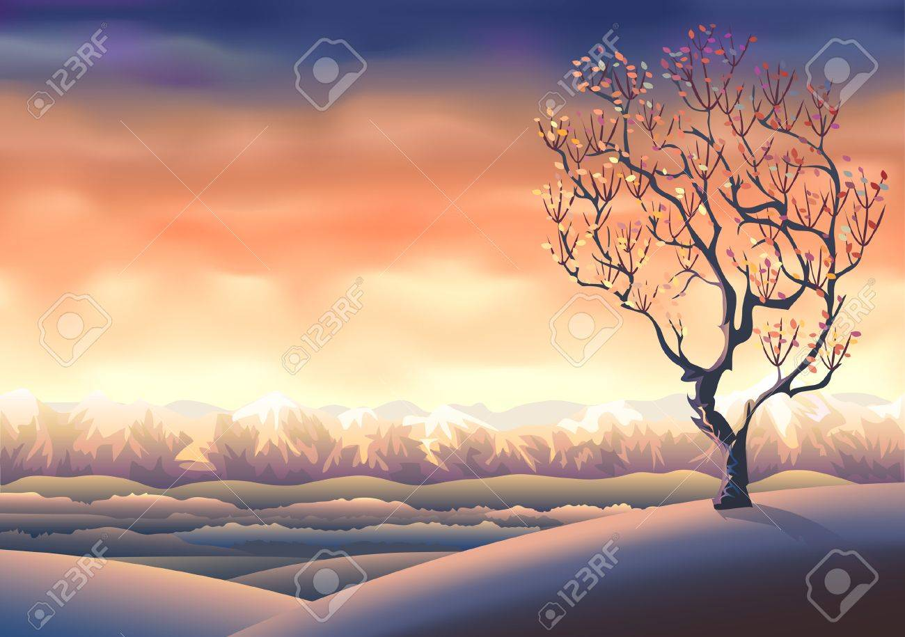 Autumn tree landscape (other landscapes are in my gallery) Stock Vector - 5295321