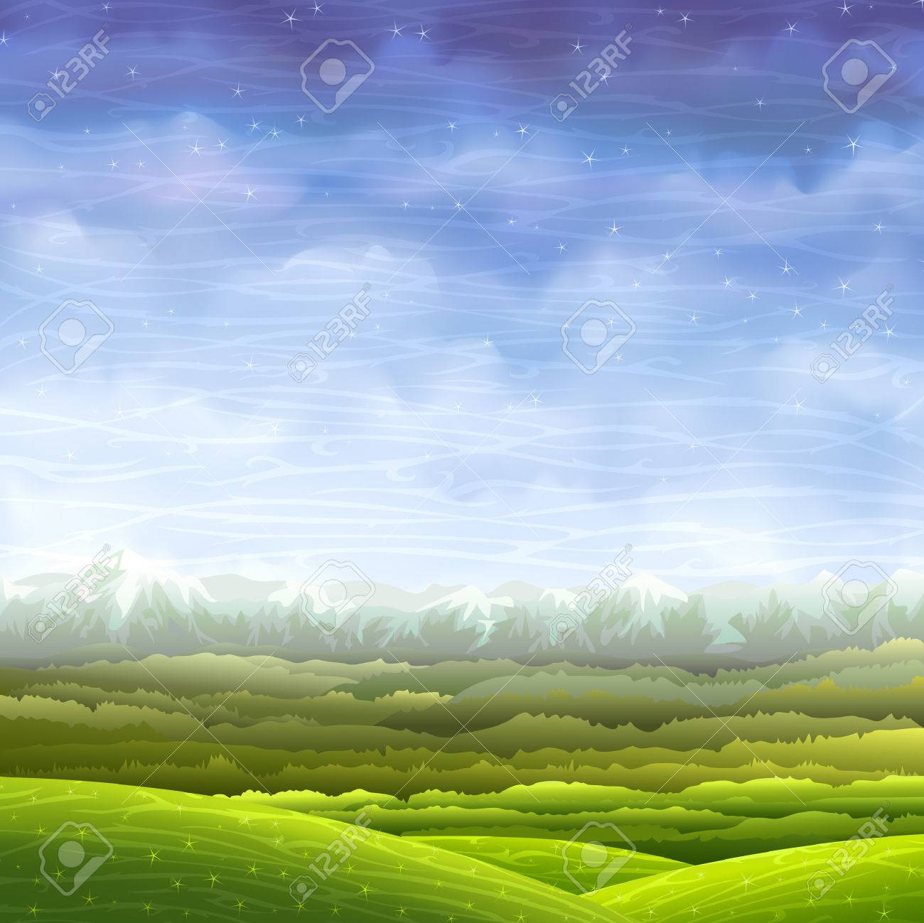 Bright and colorful rolling landscape with aerial perspective Stock Vector - 5299029