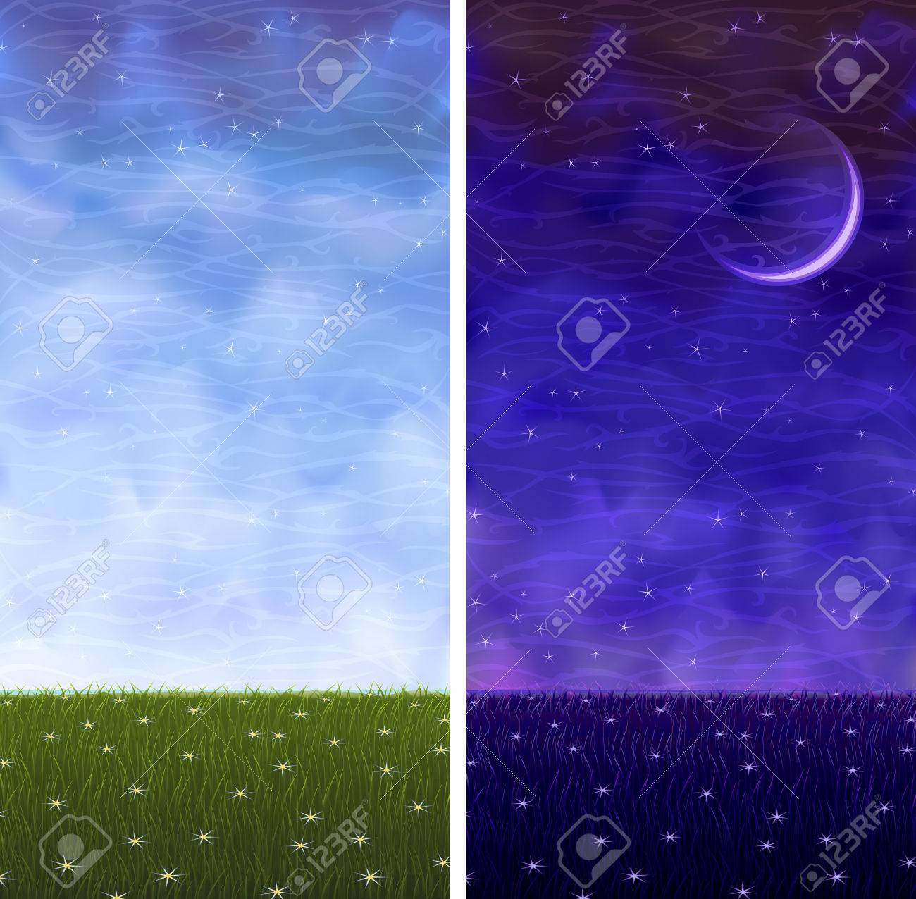 Summer grassy vertical day and night landscapes Stock Vector - 5353491