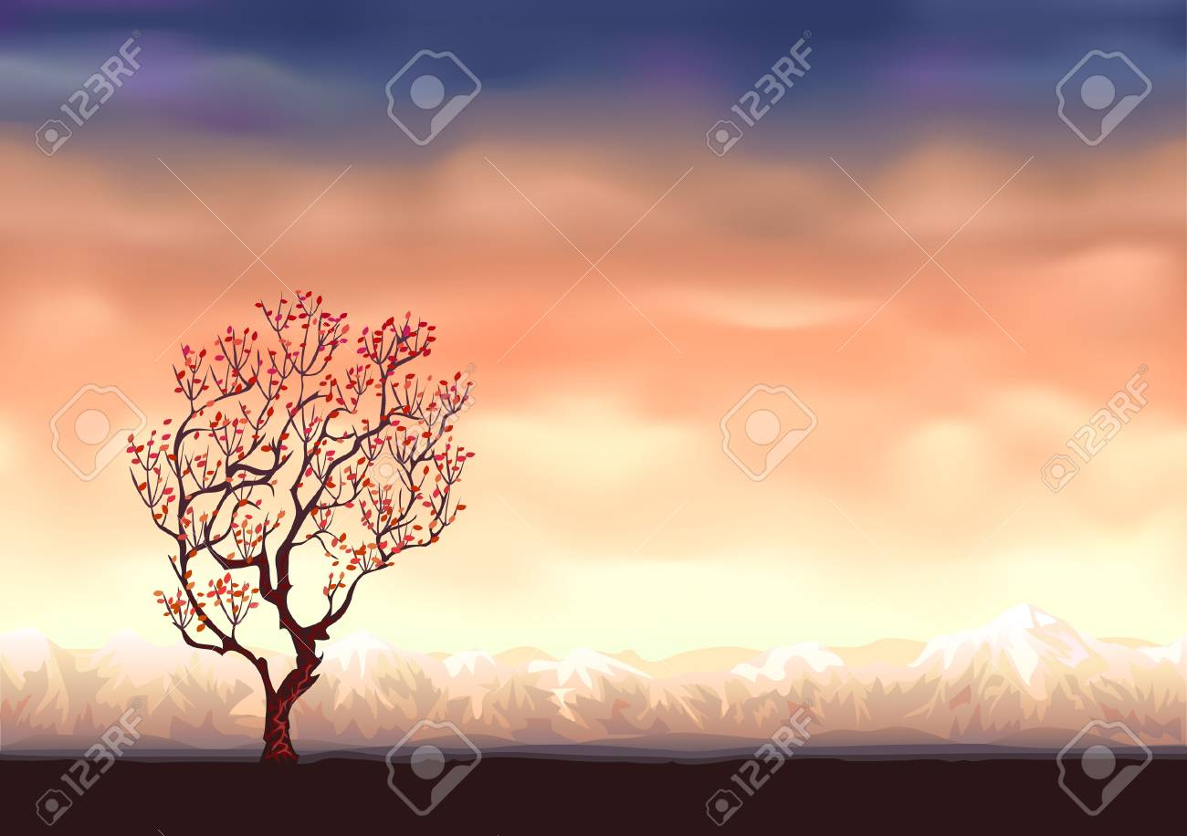 Autumn tree background  (other landscapes are in my gallery) Stock Vector - 6082456