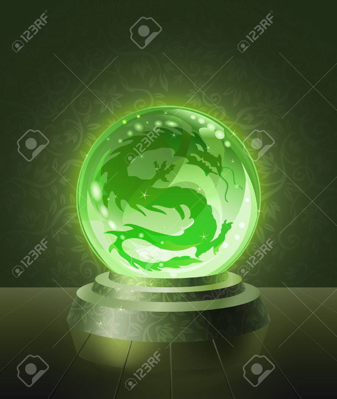 Asian dragon seen inside the crystal scrying ball Stock Vector - 7295000