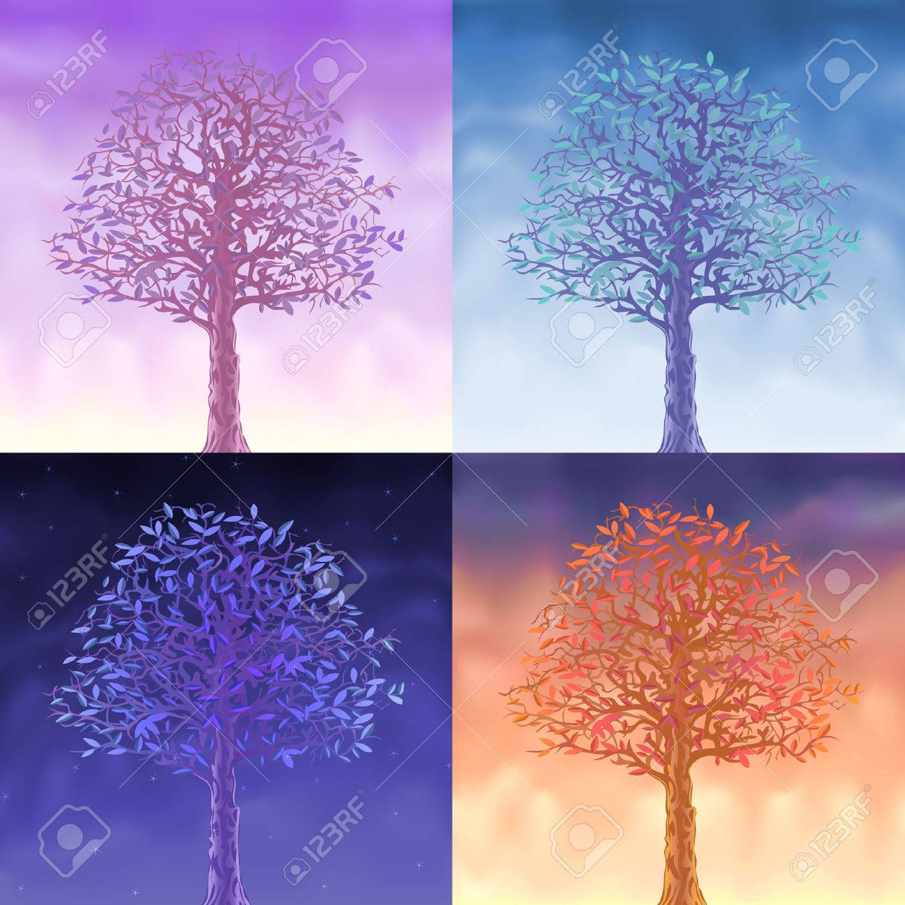 Four sky trees - morning, day, evening and night Stock Vector - 6082474