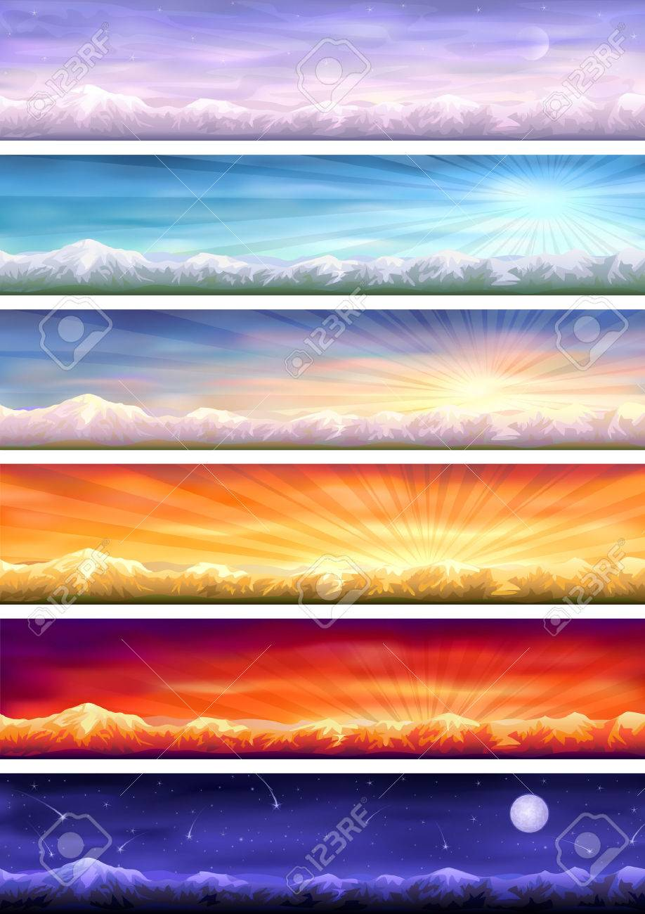 Day cycle (set of six colorful banners showing same landscape at different times of the day) Stock Vector - 7312928