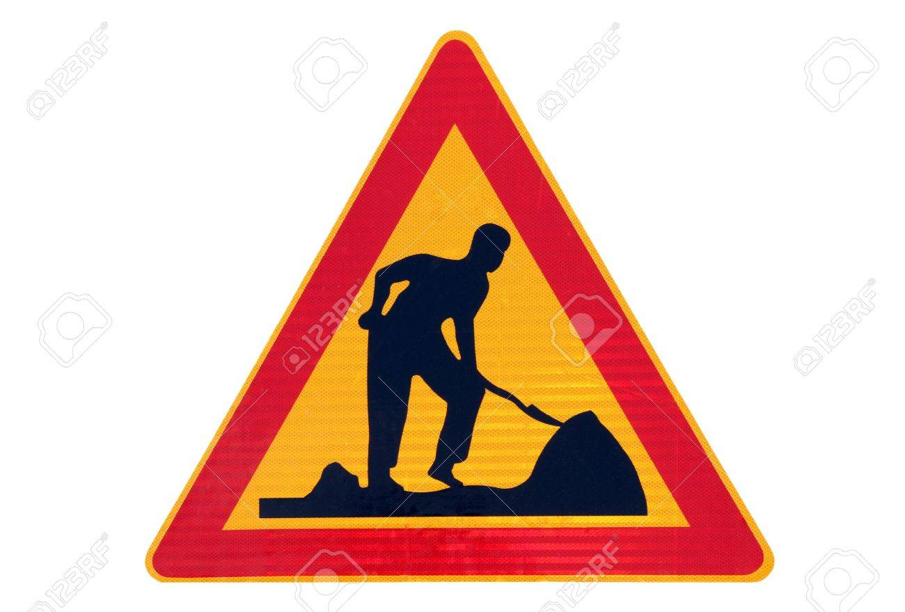 Road work traffic sign isolated over white Stock Photo - 17040746