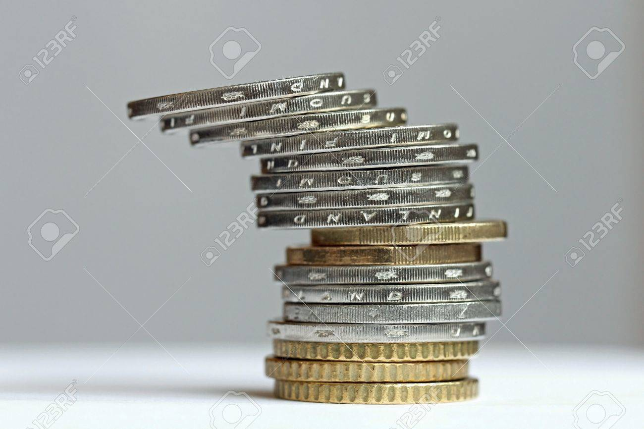 Tilted tower from Euro Coins Stock Photo - 17696847