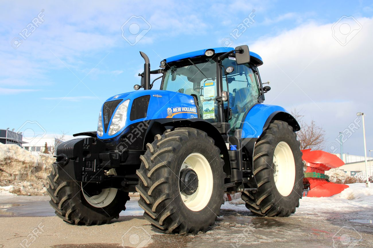 salo finland march 23 2013 blue modern new holland agricultural