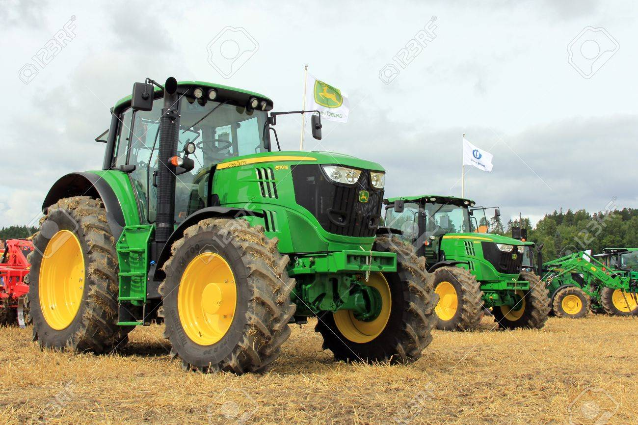salo finland august 10 john deere agricultural tractors 6170m and 6190r displayed at the