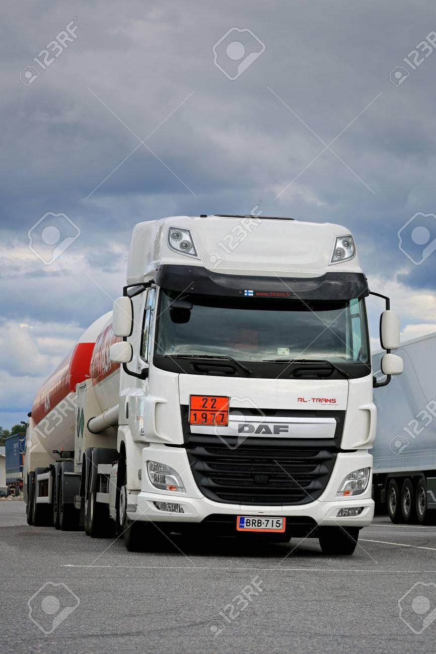 FORSSA, FINLAND - AUGUST 16, 2014: DAF CF EURO 6 tank truck parked