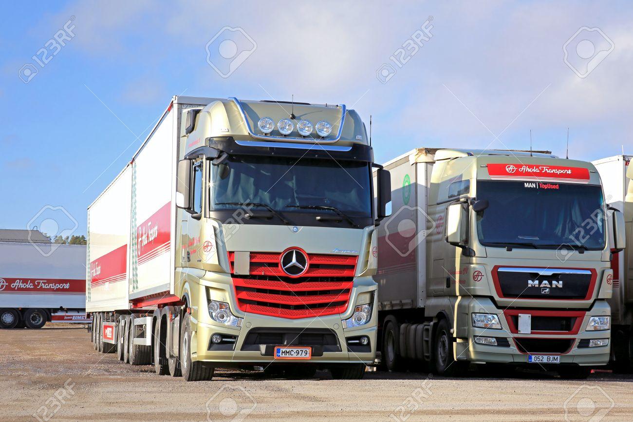 NAANTALI, FINLAND - MARCH 8, 2015: Mercedes-Benz Actros 2551