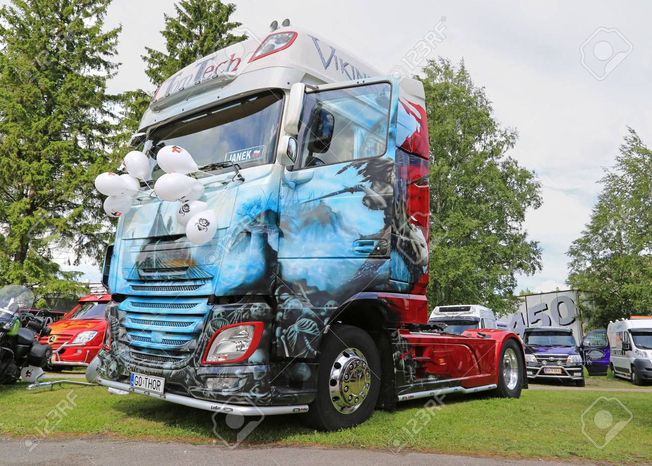 PORVOO, FINLAND - JUNE 27, 2015: DAF Euro 6 truck tractor Viking