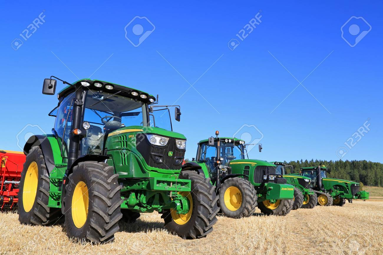 salo finland august 22 2015 line up of four john deere agricultural