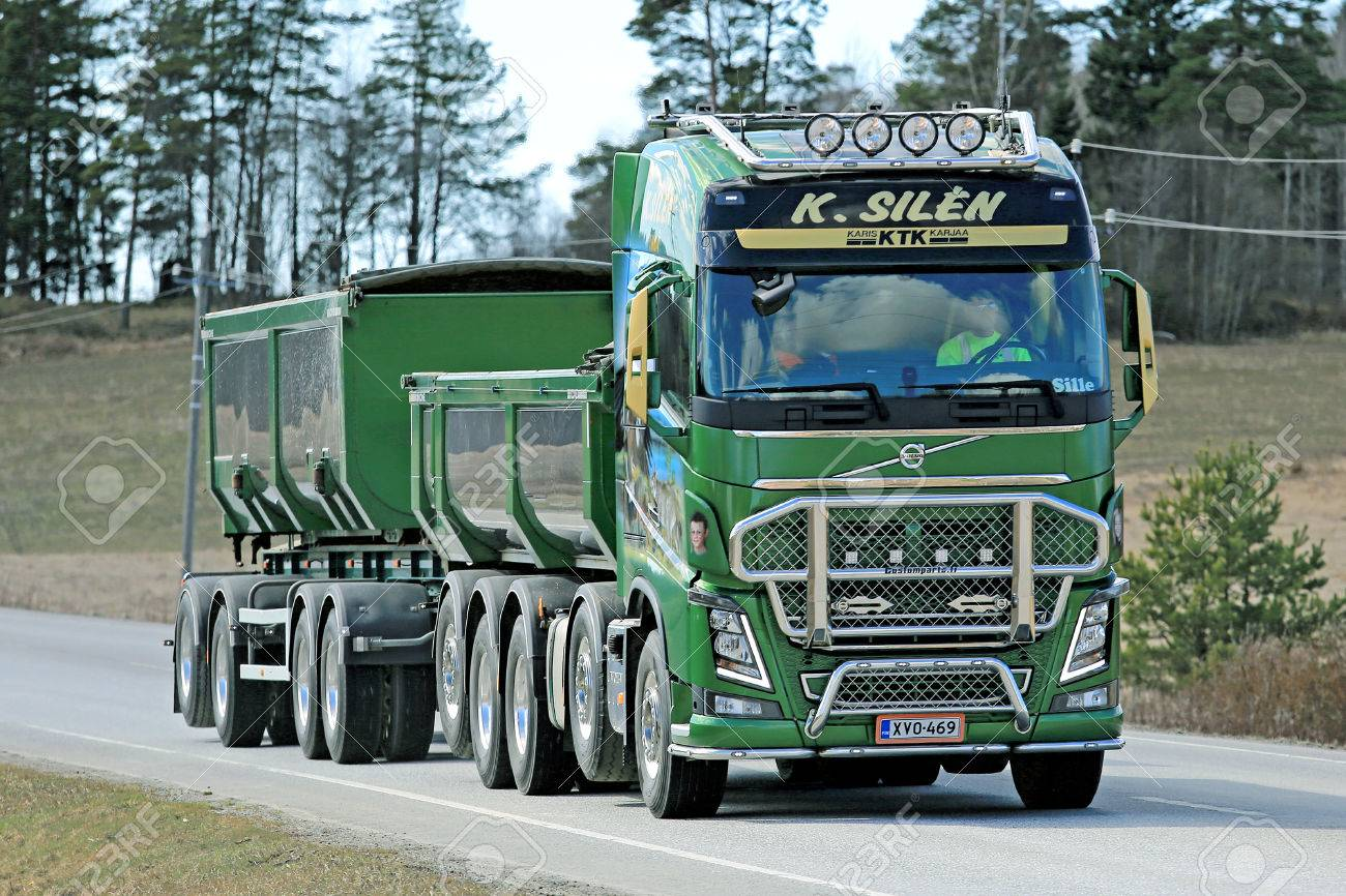 Karjaa Finland April 10 2015 Green Volvo Fh16 750 For Construction
