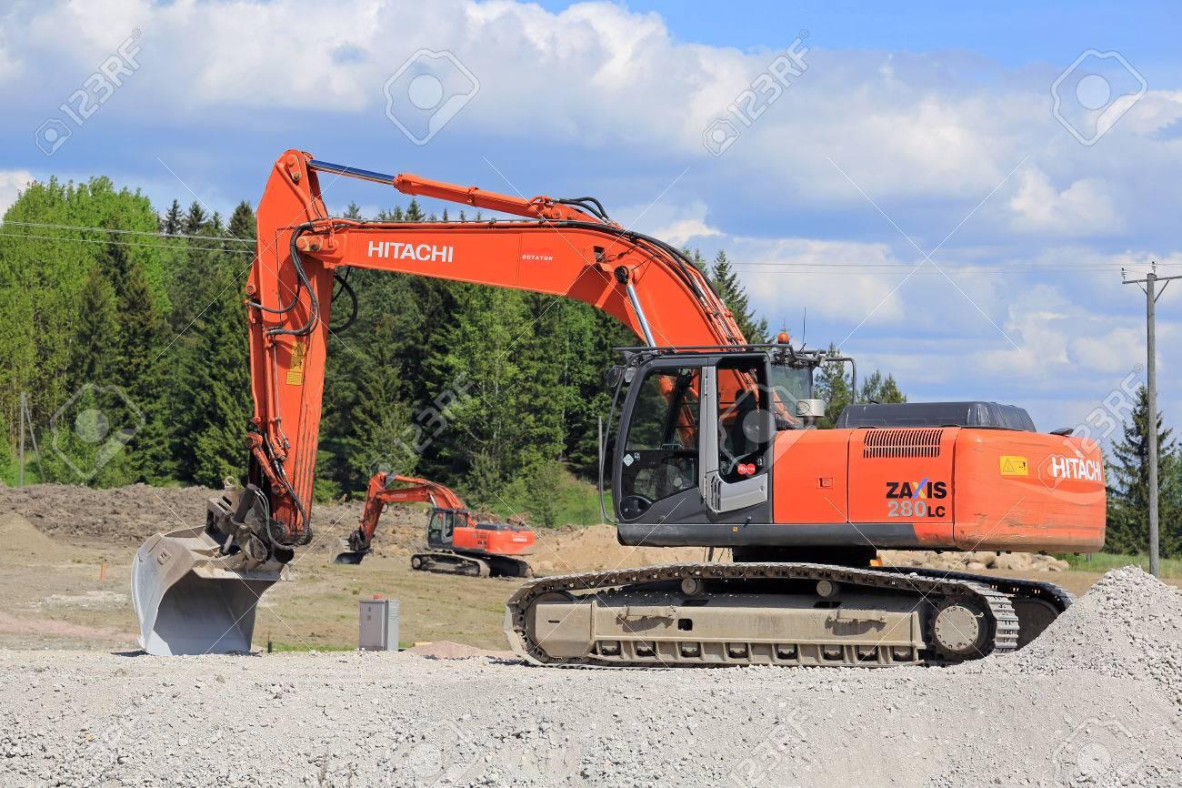 VIHTI, FINLAND - MAY 21, 2016: Hitachi Zaxis 280 LC crawler excavator