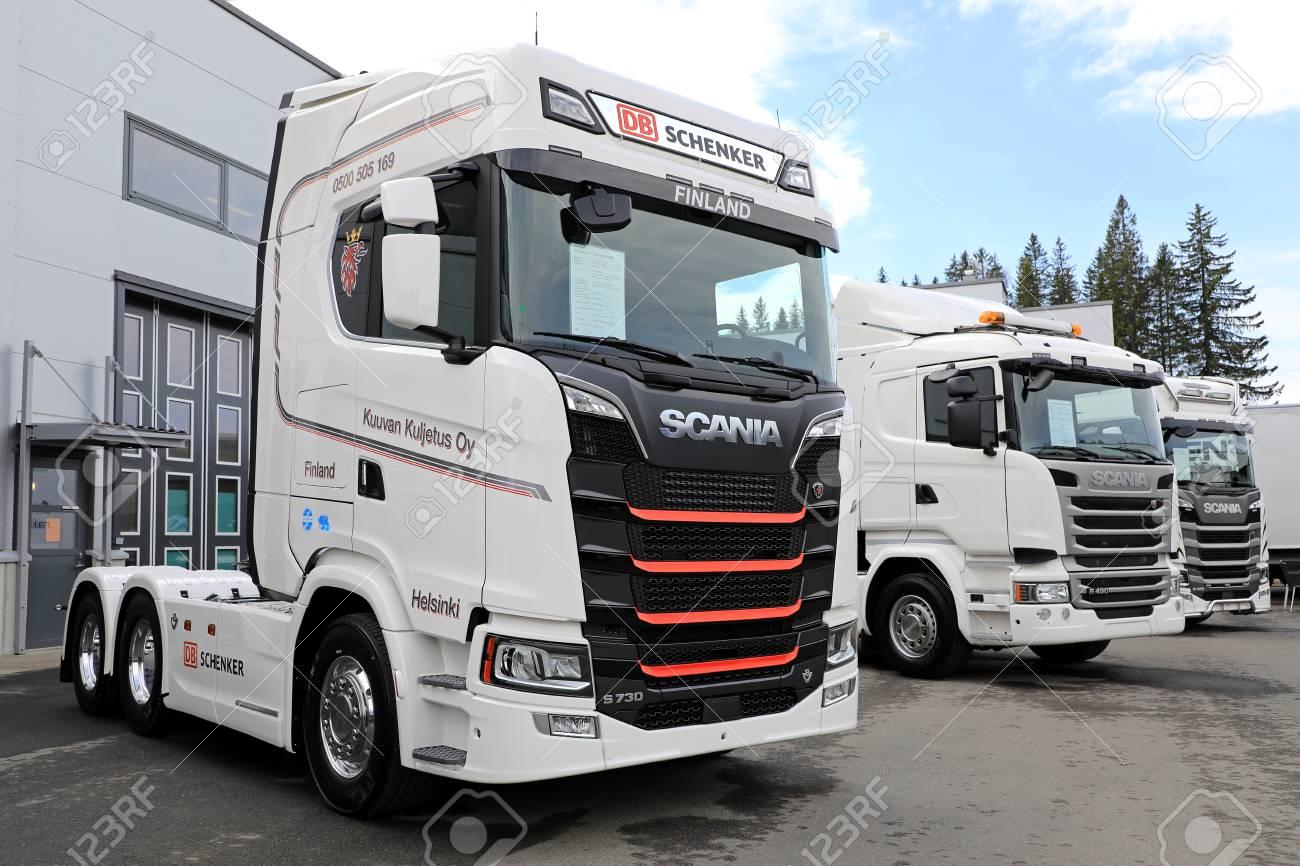 LAUKAA, FINLAND - MAY 19, 2017: Next Generation Scania S730 of