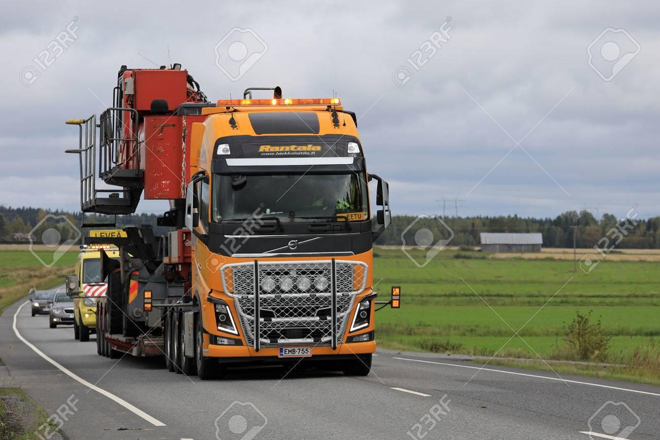 Koski Tl Finland August 15 2017 Yellow Volvo Fh16 Semi Truck
