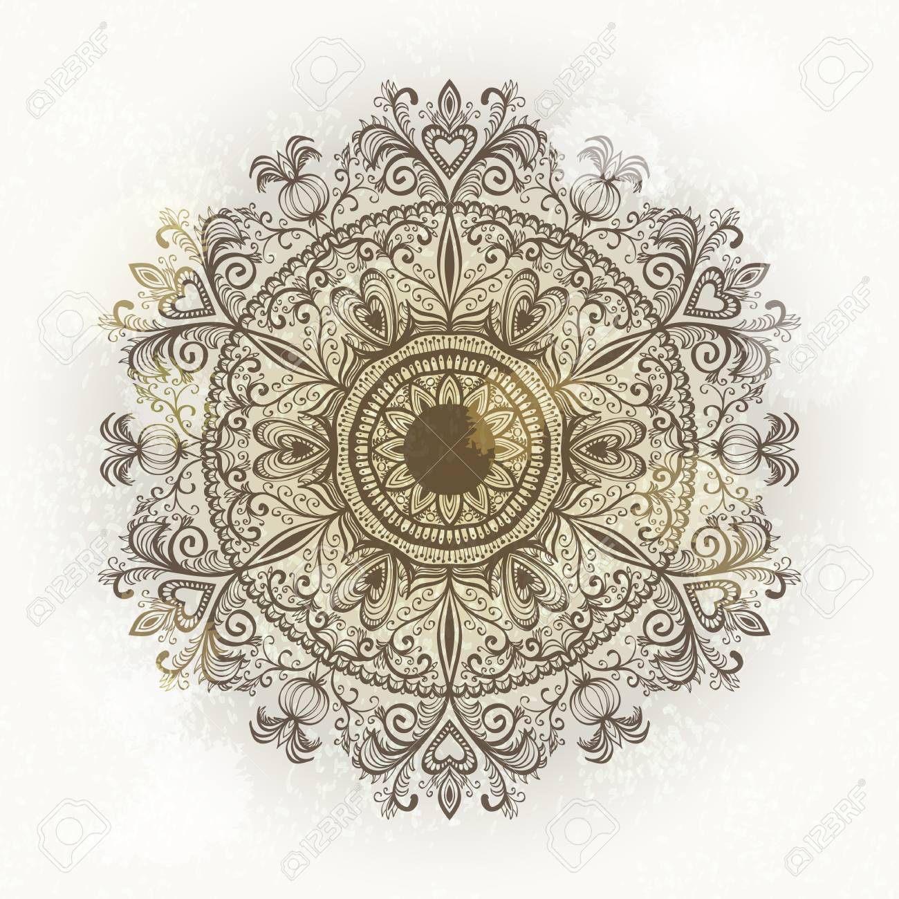 Grunge hand drawn circular floral ornament. Eps10 Stock Vector - 17707620
