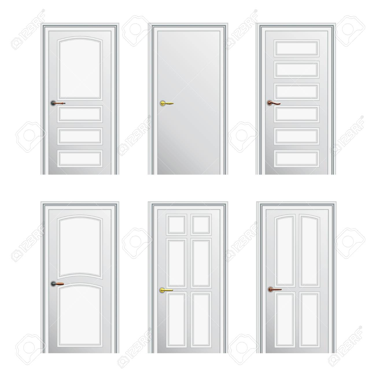 Set of 6 white painted profiled doors. Eps10 Stock Vector - 17707619