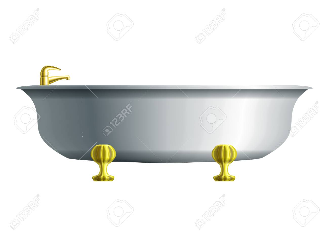 Realistic white bathtub with golden water tap Stock Vector - 17899623