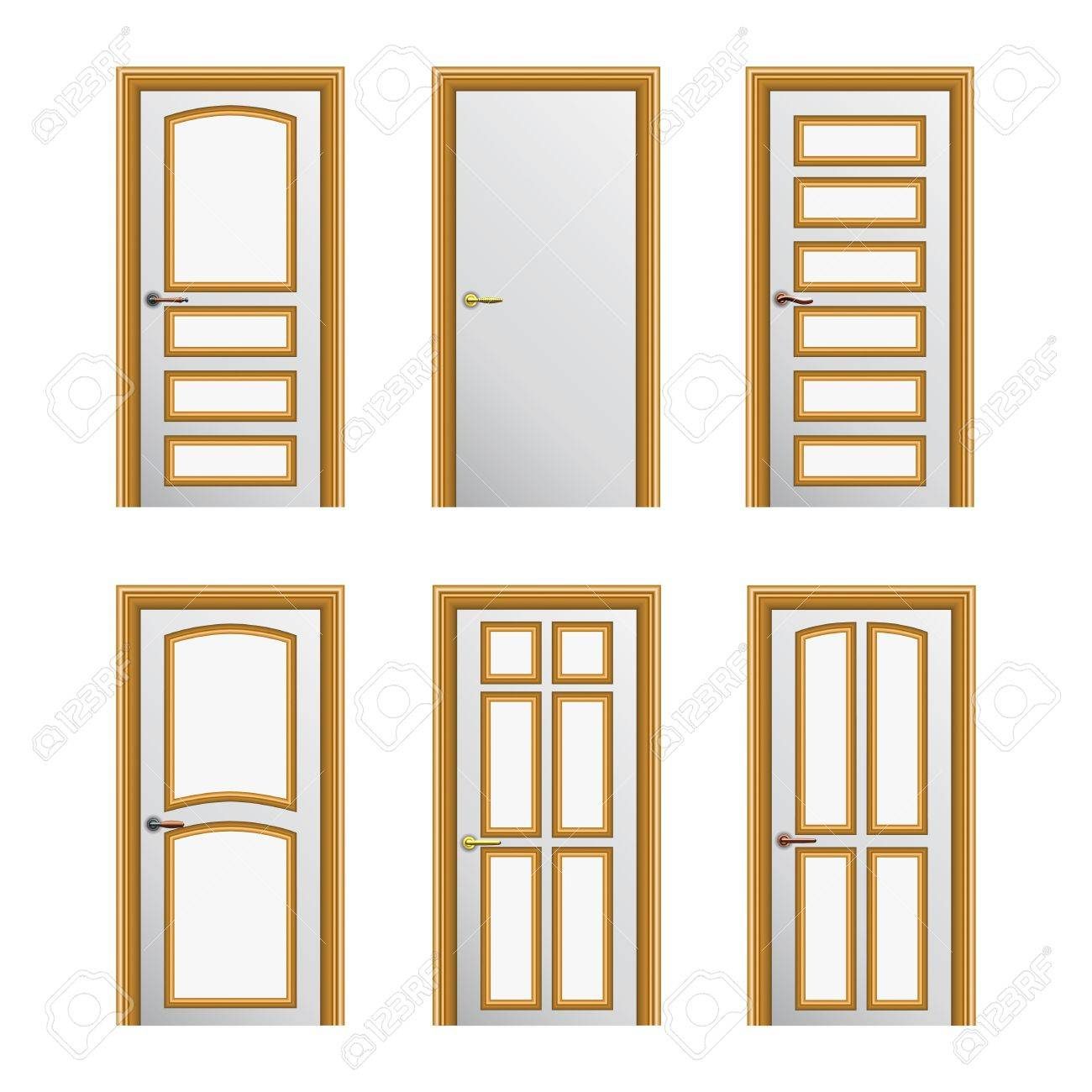 Set of 6 white painted doors with golden profiles Stock Vector - 17899638