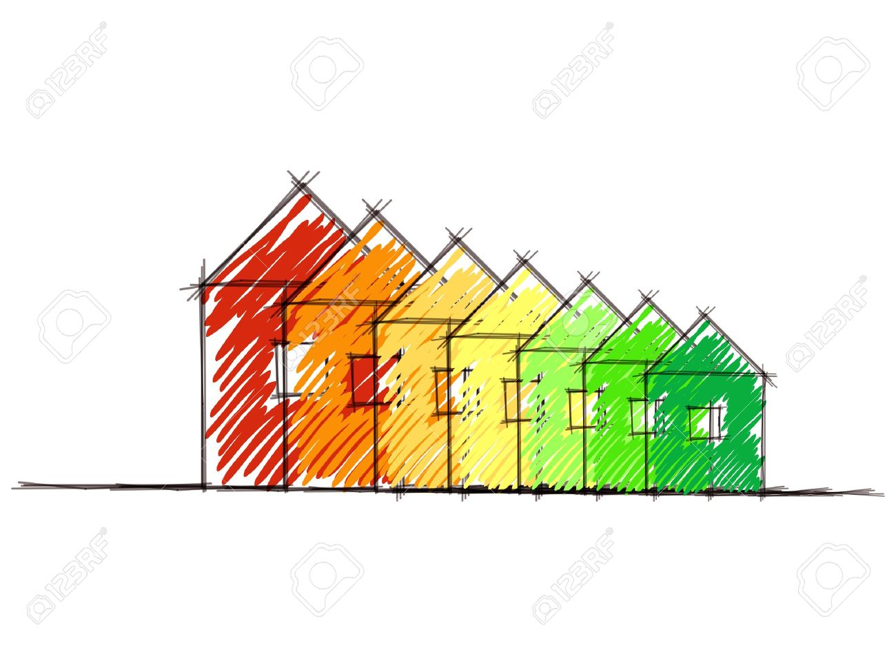 Hand Drawn Sketch Of The Diagram Of House Energy Efficiency Rating ...