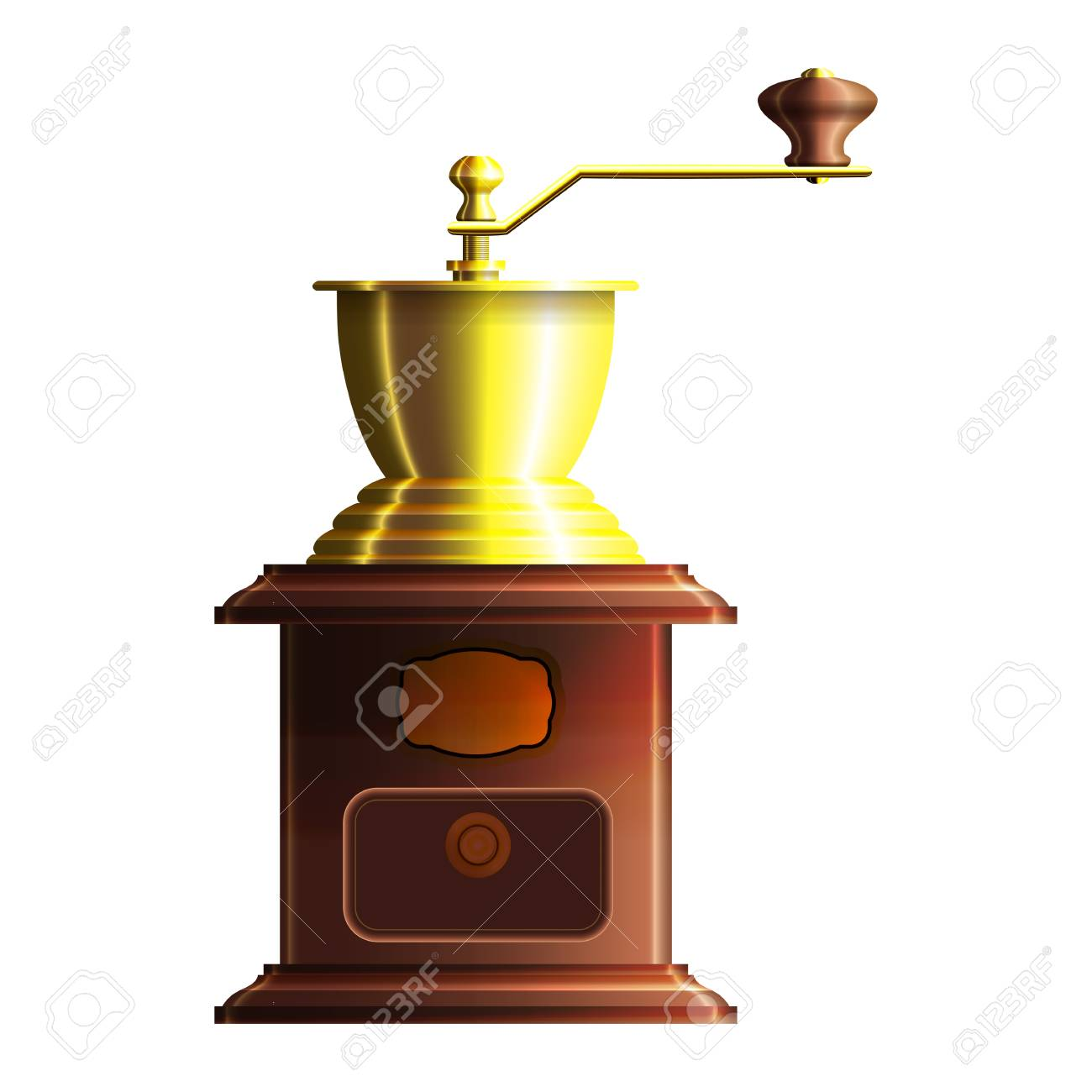 Hand mill for coffee wooden with golden elements Stock Vector - 18091058