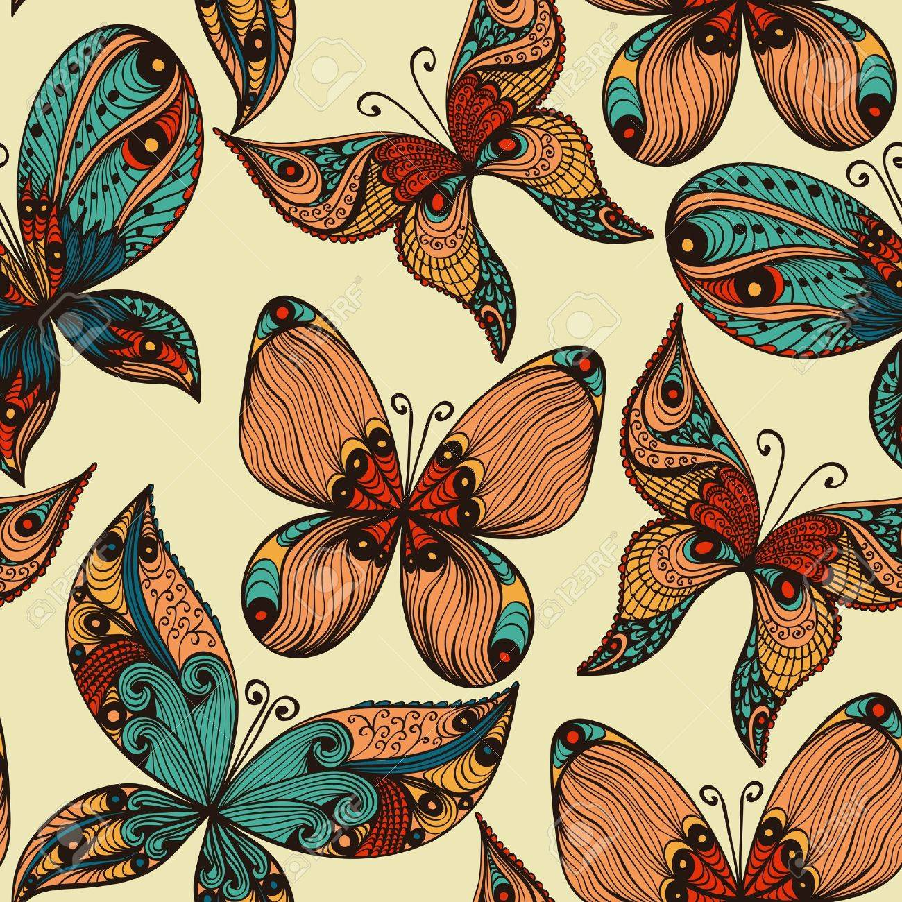 Bright vintage hand drawn seamless background with butterflies Stock Vector - 20697455